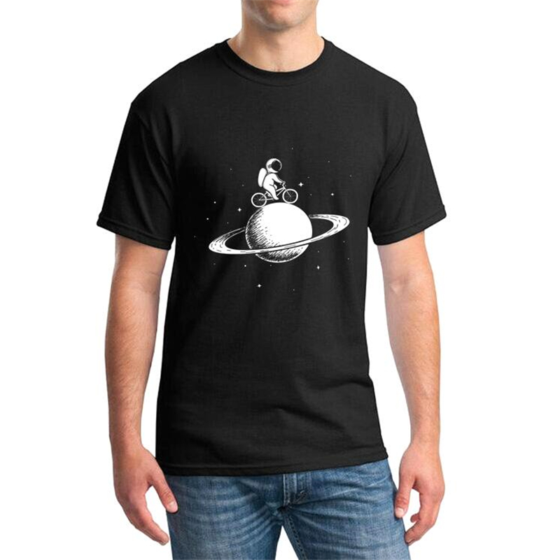 41b27d67 Funny T shirts Men Summer astronaut rides on bicycle at the Saturn Printed Tshirt  Casual Short