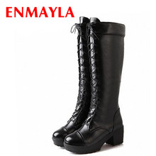 ENMAYER new  gothic punk shoes cosplay motorcycle boots platform sexy Lace-Up winter Med knee high free shipping