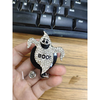 Halloween ghost ghost BOOname badge holder forbidden screaming white rhinestone ghost professional ID badge clip
