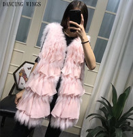 Fur strip sewed toghter fox fur vest sleeveless coat woman autumn winter chiffon tassel real fox fur beautiful jackets