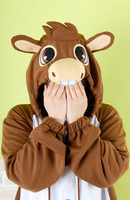 Free Shipping Kigurumi Donkey Cosplay Costume Girl S Boy S Unisex Animal Onesies Pajamas Suits Sleep