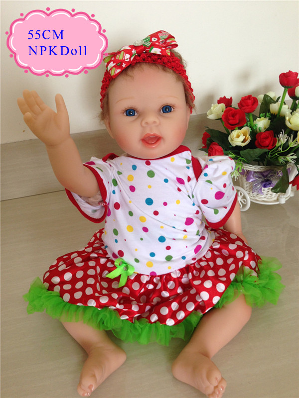Hot Sell 55cm 22inch Silicone Baby Dolls For Sale With Happy Christmas Style 22inch Clothes Best Gift For Children At Christmas 4color choose set clothes hairbrand wear fit 43cm baby born zapf children best birthday gift only sell package