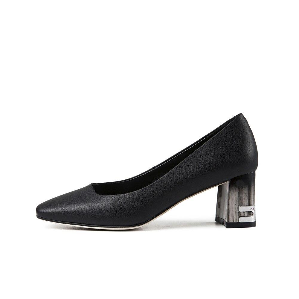 Bout Talons Bureau Peu Dames Rond Noir Pompes Profonde Ayf04 Cuir Véritable Black beige Beige Muyisexi Épais Chaussures Haute 7tAnxIgq1