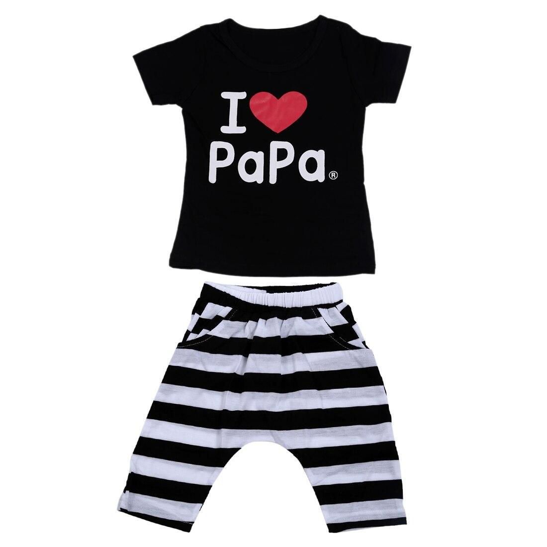 Hot Sale Baby clothing set cotton suit I Love Papa letters Short-sleeved T-shirt + striped pants black I LOVE PAPA 90-130CM
