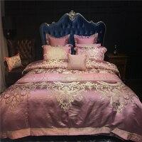 Парча вышивка роскошные Постельное белье мягкое постельное белье одеяло/Стёганое одеяло крышка постельное белье лист комплект 4 шт. Постел