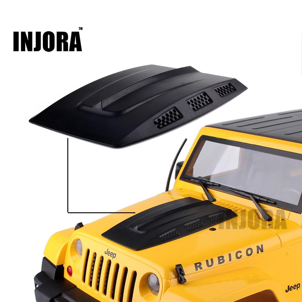 INJORA Plastic Engine Hood for RC Rock Crawler 1:10 Tamiya CC01 Axial SCX10 RC4WD D90 Jeep Wrangler Rubicon Body Shell 2pcs set aluminum piggyback shock absorber springs suspension for 1 10 rc crawler car axial scx10 wrangler d90 cc01