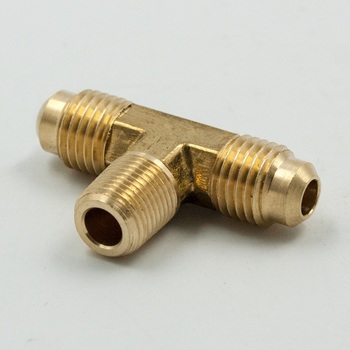 цена на 2pcs Brass forged Tube Fitting SAE 45 Degree Flare Male Branch Tee 1/4 5/16 3/8 1/2 SAE Male x 1/4 NPT Male Pipe Thread