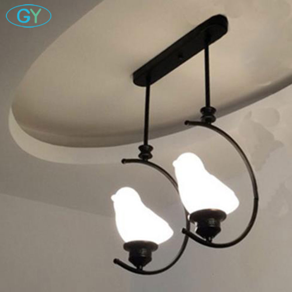 E27 Black Metal LED pendant lights frosted glass bird lampshade children kids room pendant lamp laluminaria led hanging lamps