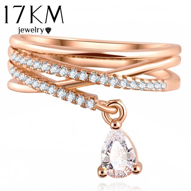 17 км Anel Feminino многослойное крестообразное свадебное Кристальное кольцо в форме капли воды Anillos Mujer модные украшения из циркония кольца для женщин CS12