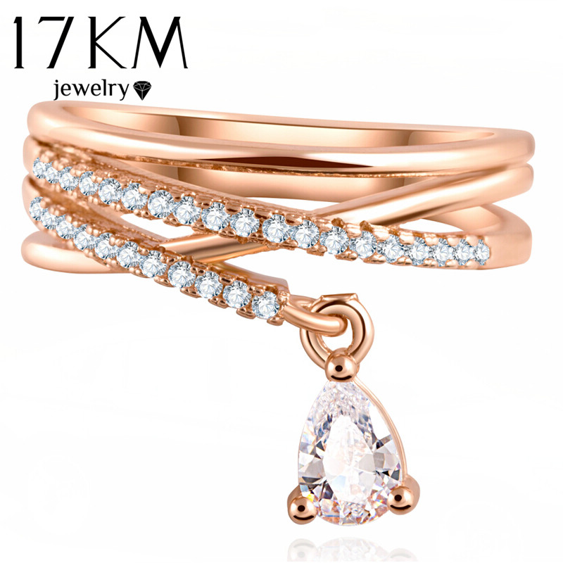 17KM Anel Feminino Multilayer Cross Wedding Crystal Vatten Drop Ring - Märkessmycken