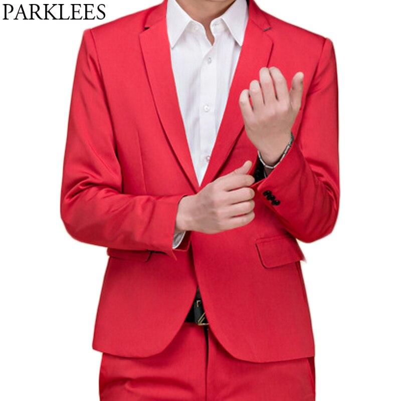(Jackets+Pants) Mens Brand Red Tuxedo Dress Suit Casual Slim Fit Work Wedding Groom Coat Suits Singer DJ Party Bar Costume Homme