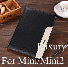 New Fashion arrival fashion thinner hot sell Luxury Pu leather case cover bag For Apple ipad mini 2/3 stand case for iPad mini