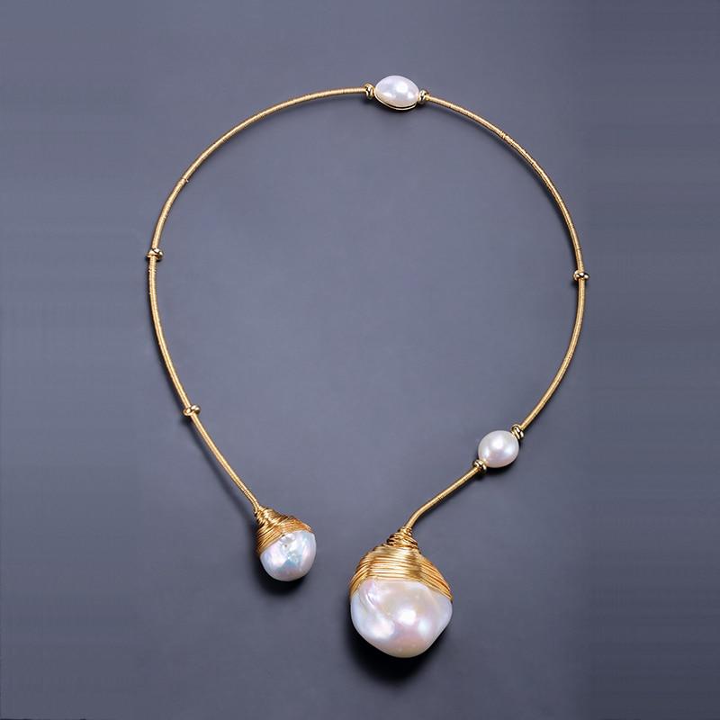 DMNFP321 Luxury Handmade Collar Huge Baroque Pearl with Handmade Handmade Jewelry Choker Necklace