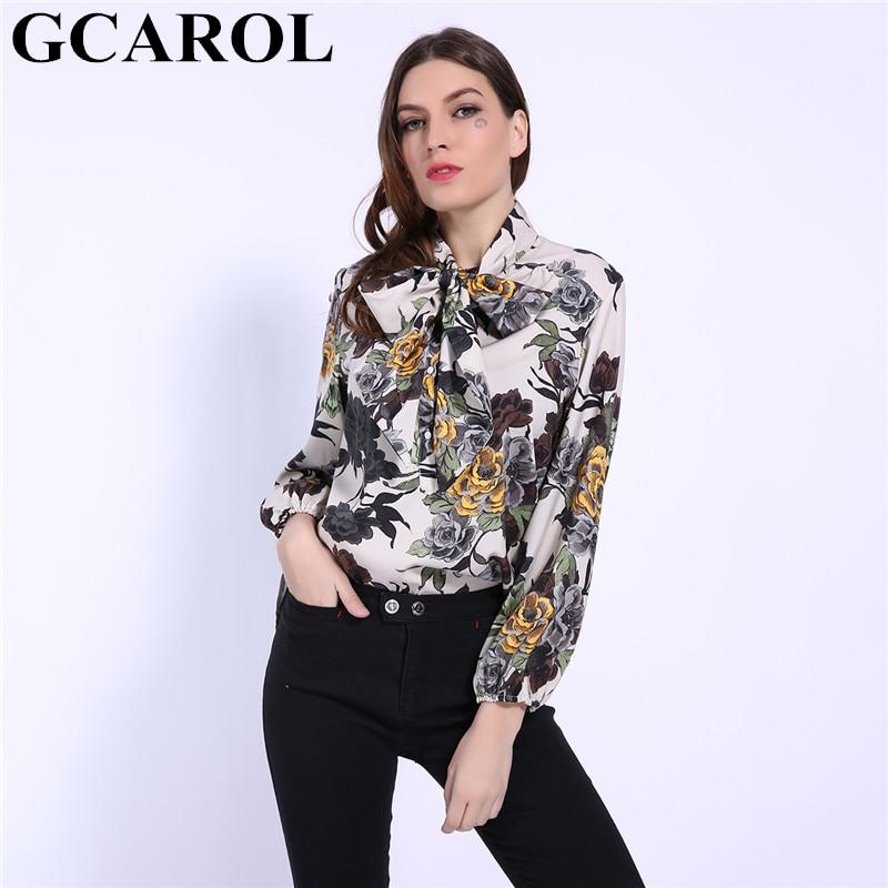 GCAROL 2019 Early Spring Bowknot Women Big Floral Long Blouse Elastic Cuff Fashion Elegant OL Work Shirt Asymmetric Tops 4