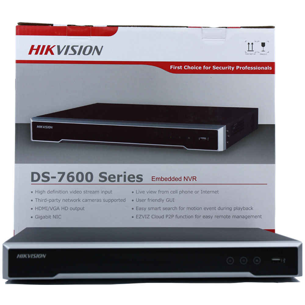 Hikvision Nvr Embedded Plug & Play 4K Nvr Met 1/2 Sata Interfaces 4/8/16CH Poe Poort voor Security Camera H.265 P2P