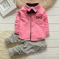 1-4 Years 2017 New Fashion Baby Boy Clothes Kids Children Formal Clothing Set For Toddler Boys Bowknot T-shirt+Pants T252