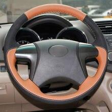 Top Leder Lenkrad Hand stich auf Wrap Abdeckung Für Toyota Highlander