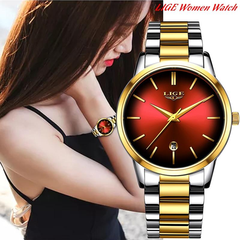 LIGE New Womens Business Quartz Watch Ladies Brand Top Luxury Ladies Watch Small Dial Thin Section Girl Clock Relogio Feminino