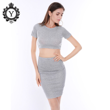 COUTUDI 2017 Short Sleeve Hollow Out Dress Women Package Hip Solid Gray Cotton Dresses Summer Two Piece Set Bodycon Vestido Sexy