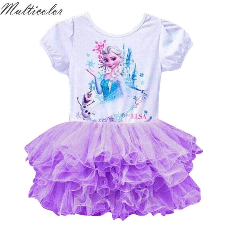 Venta caliente del verano Niñas vestido rosa lindo Elsa traje de la ...