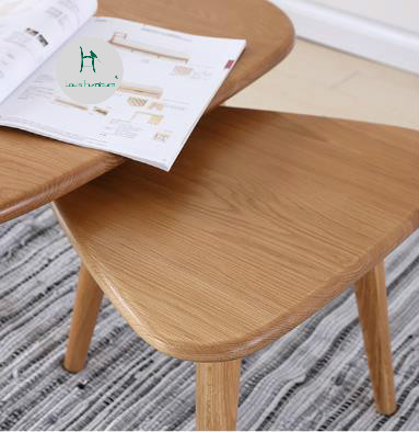 Louis Fashion Tea Table Small Apartment Solid Wood Simple White Oak Triangle Log Furniture Creative Smooth Edge