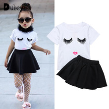 New Summer Toddler Girls Ruffle Outfits Cartoon Printed Top + Short Skirt Two Pieces Casual Boutique Kids Clothing black white stripes flamingos short sleeves top solid pink ruffle short summer outfit girls boutique clothing with accessories
