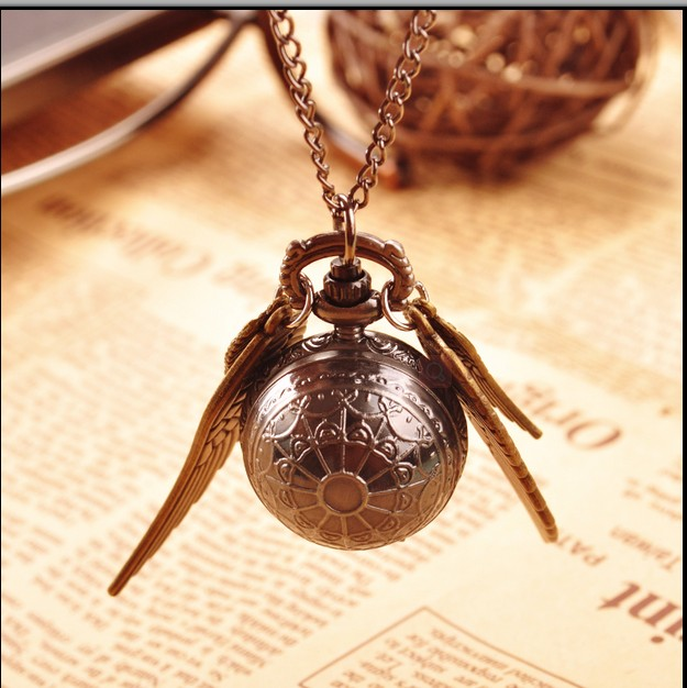 Harry Potter Black Snitch Bronze Wings Fashion Quartz Gift Mini Wings Necklace Pocket Watch Free Shipping 100pcs