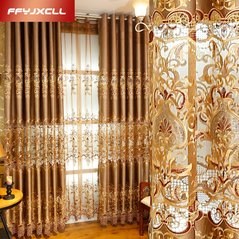 Semi-shading Luxury Europe Embroidered Floral Curtain Window For living Room Bedroom Tulle Treatment Drapes Home Decor wall shelf for tea pots