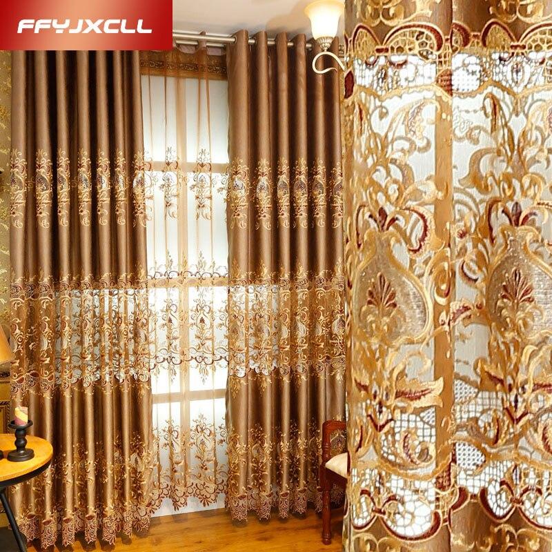 Semi-sombreado lujo Europa bordado Floral cortina ventana para sala de estar dormitorio tul tratamiento cortinas decoración del hogar