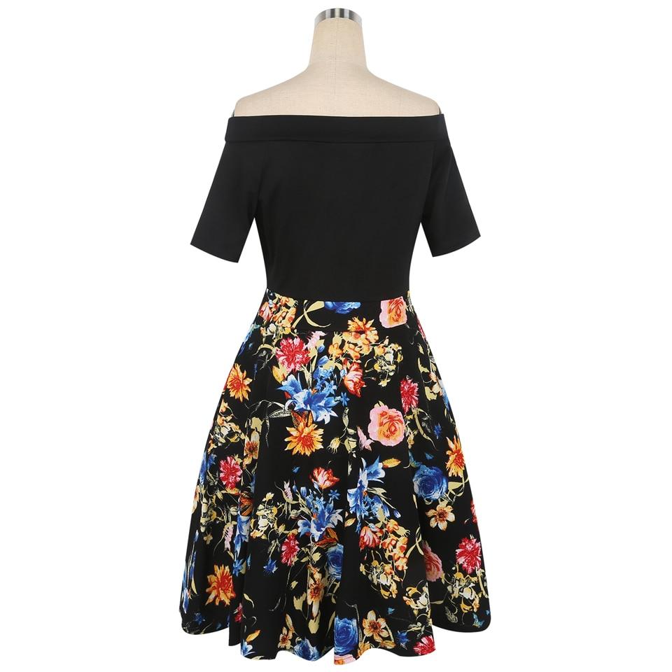 Oxiuly Yaz Elbise 2018 Elbise Kadın Kısa Kollu Renkli Çizgili - Bayan Giyimi - Fotoğraf 4