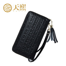 Luxury Chinese Style Women Wallets Long Party Purse Banquet Clutch Bags 2016 New/Black/Cow split leather  420007