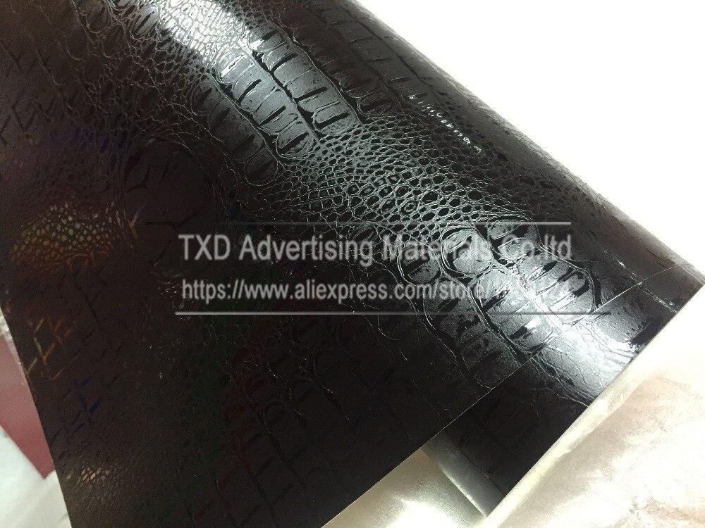 1.52mX5/10/15/20/30m Per Roll Black Crocodile Grain Vinyl sticker for Car interior decoration Crocodile pattern PVC Wrap film - 4