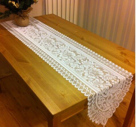 33180 Cm Moderne Witte Haak Tafelloper Doek Kerst Katoen Bloemen