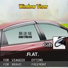 SHITURUI Window Visor Vent Sun Rain Deflector Guard For FIAT viaggio OTTIMO Bravo Freemont car stainless steel