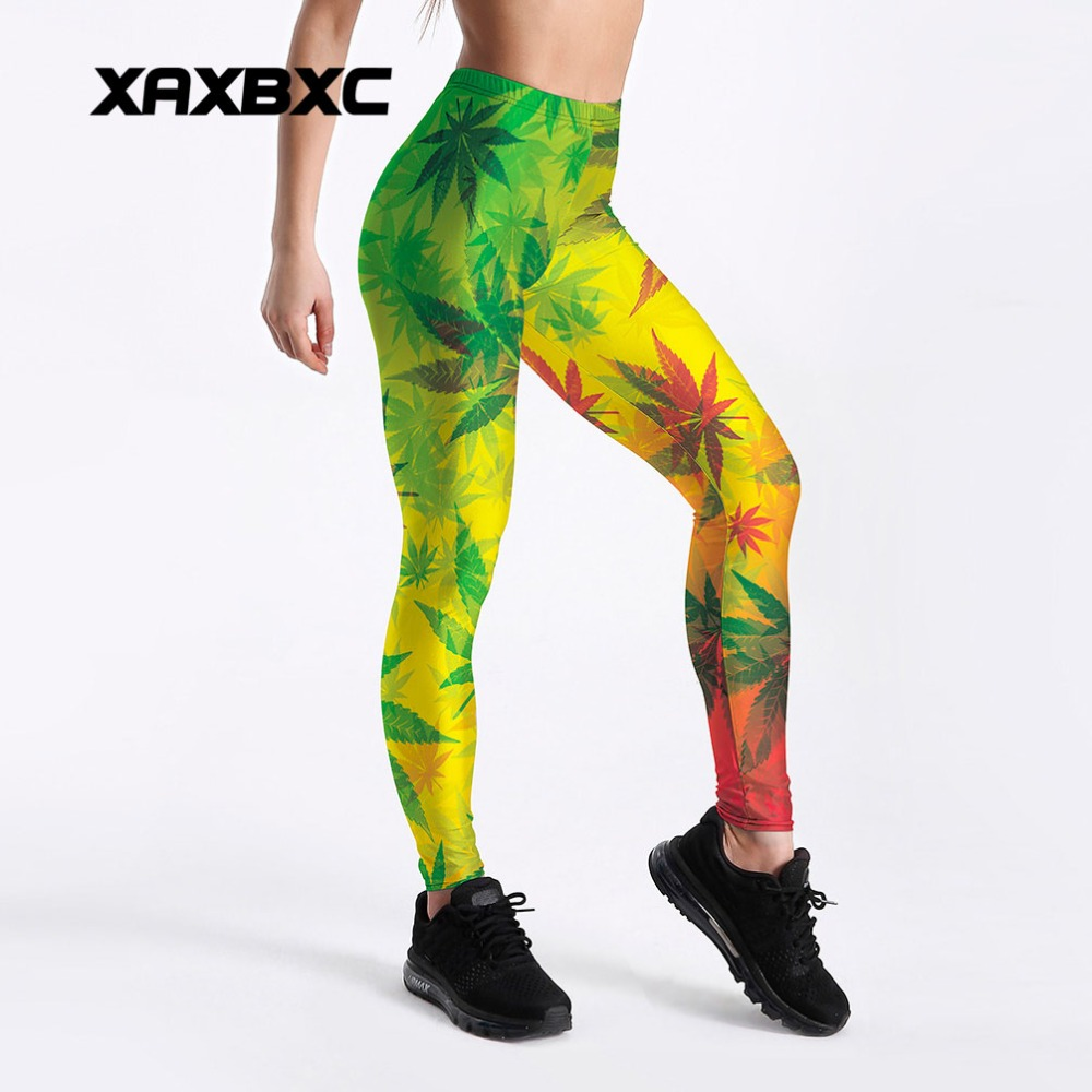 XAXBXC 4062 Sexy Girl Pencil Pant Rainbow Gradient Weeds Maple Leaf Prints Elastic Slim Fitness Workout Women   Leggings   Plus Size