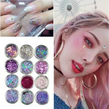 12pcs Nail Glitter Mixed Color 3D Sequins Flakes DIY Tips Eye Face Body Highlighter Paillette Festival Makeup Decor Tools