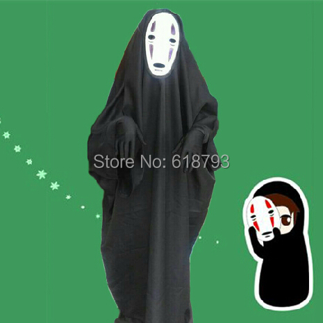 Sen to Chihiro no kamikakushi/Spirited away cosplay chaos no face man cosplay long black with mask cosplay dress
