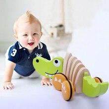 Крокодил деревянный веревка игрушка трактор собака животных ветер мультфильм детей криво тракторов Модель Строительство Наборы для мальчиков и девочек детские игрушки