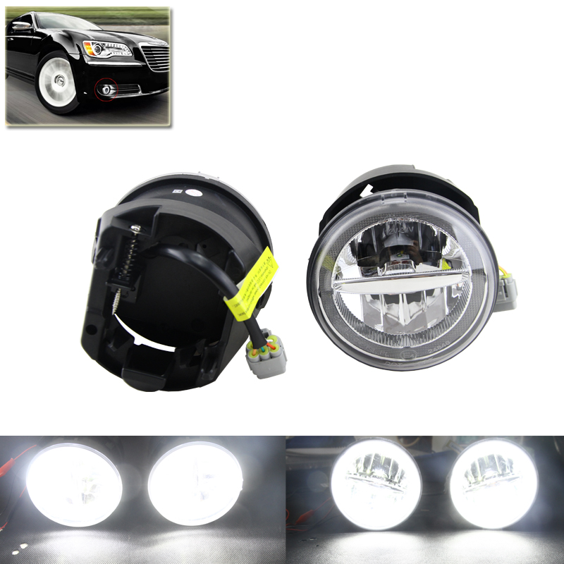 2-In-1 Auto Car Led Front Fog Lights Assembly W/ White DRL Daytime Running Lights For Chrysler 300 Base C SRT8 Sedan 4D Lamp for opel astra h gtc 2005 15 h11 wiring harness sockets wire connector switch 2 fog lights drl front bumper 5d lens led lamp