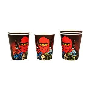 Image 4 - Party Supplies 50pcs สำหรับ 12 เด็กใหม่ Ninjagoing Birthday PARTY ตกแต่งชุด, จาน + ถ้วย + ฟาง + ธง + tablecover
