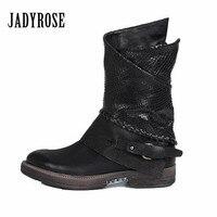 Jady розовый, черный Осенне зимние женские ботильоны из натуральной кожи на плоской подошве Высокие сапоги женские ботинки на резиновой подо