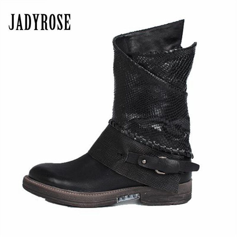 Jady Rose Black Autumn Winter Women Ankle Boots Genuine Leather Flat High Boots Rubber Shoes Woman Platform Riding Boot