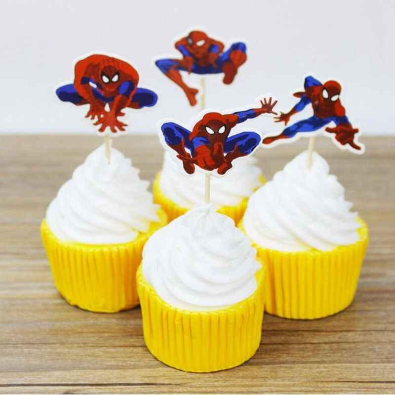 24 шт мультфильм Супермен Человек-паук шляпа-торт мальчик вечерние кекс Picks выбор Дети День рождения Свадебные украшения семья вечерние поставки