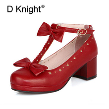 Sweet Princess Party Shoes pu Leather Women Pumps Cosplay Bow Thick Heel Buckle Straps Round Toe Platform Lolita Shoes For Woman 12 5cm block high heel gothic queen cosplay shoes buckle straps lolita pumps shoes