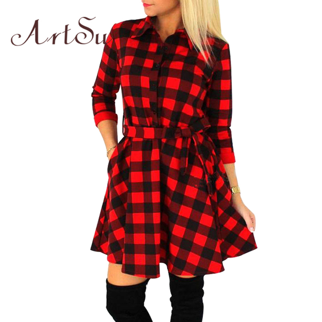 Artsu 2017 mujeres de la manera mini dress vintage blanco negro plaid imprimir 3/4 tamaño más sexy de manga corta plaid dress asdr10007