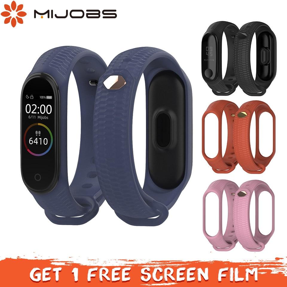 Mijobs Mi Band 3 Strap Bracelet Silicone Sport Smart Band Accessories For Xiaomi Mi Band 4 Strap Wristband Correa Miband 3 Strap