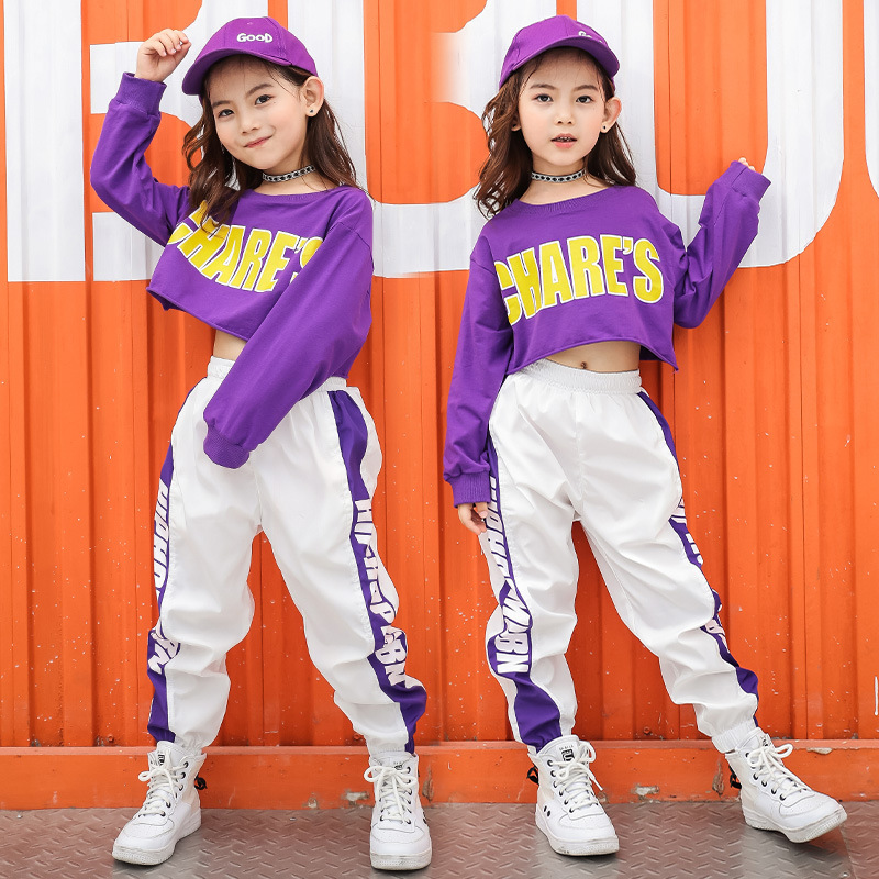 Girl child kid hip hop costume street dance jazz costume purple T-shirt white pants clothes clothing for kid