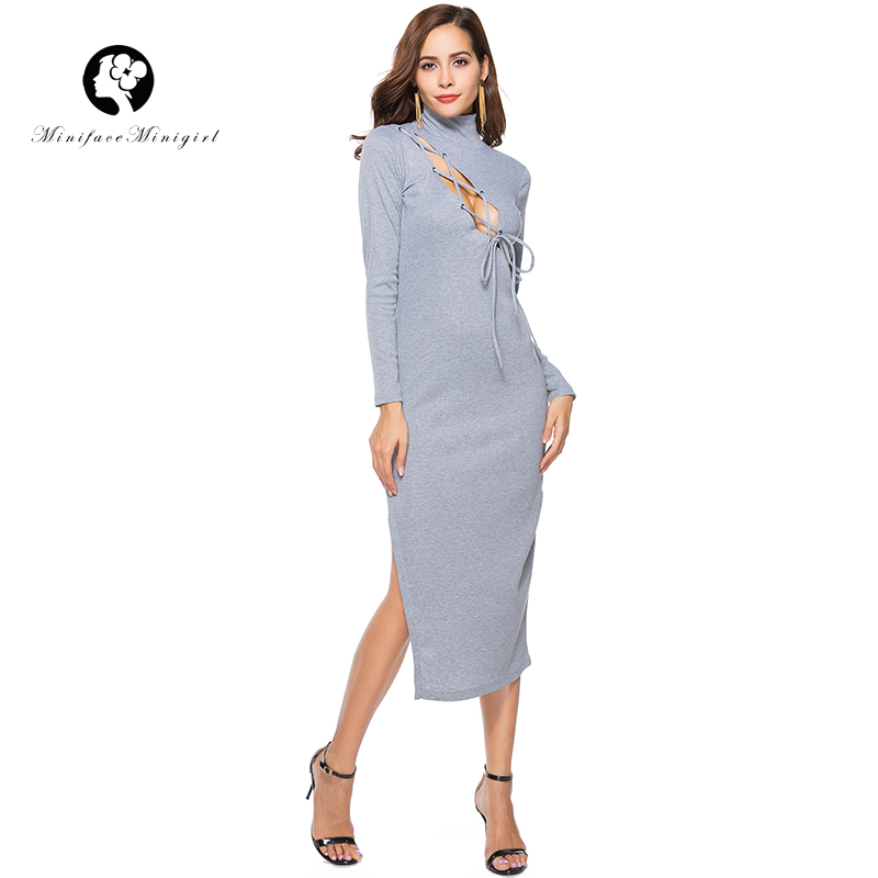 Women Knitted Sexy Dress Elegant Long Sleeve Midi Spring Party Dresses Casual Fashion Turtleneck Hollow Out Chest Bodycon Dress forefair fashion slim knitted party dresses women clothing 2018 spring long sleeve sexy criss cross v neck bodycon dress vestido
