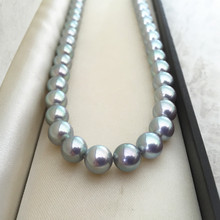 Women Gift word 925 Sterling silver real Natural Akoya Grey Pearl Necklace to basic circle