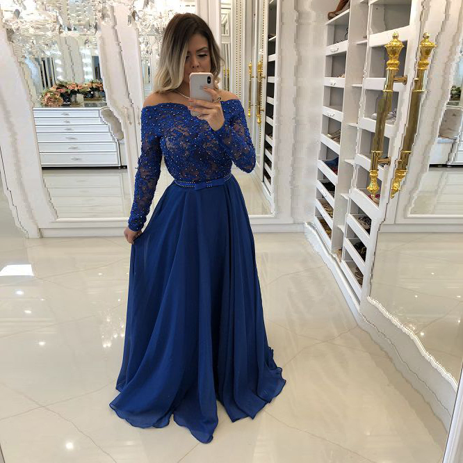 Alexzendra Long Sleeves Blue Chiffon A Line Prom Dresses 2019 Pearls Formal Evening Dress Plus Size Party Dress Custom Made